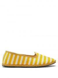 VIBI VENEZIA Gondola striped canvas flats / women's yellow and white stripe flat summer shoes