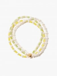 TIMELESS PEARLY Pearl beaded anklet / yellow, green and white anklets / women's summer jewellery / freshwater pearls