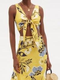 CALA DE LA CRUZ Lola tie-front floral-print top / yellow linen crop tops / women's chic summer fashion