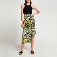 RIVER ISLAND Yellow printed twist midi skirt / zebra print skirts