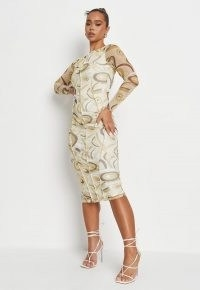 MISSGUIDED yellow psychedelic print mesh midaxi dress ~ semi sheer going out dresses ~ fitted party fashion