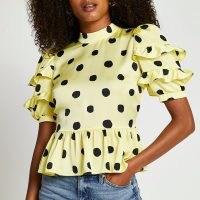 RIVER ISLAND Yellow short puff sleeve open back frill top / ruffled spot print peplum hem tops