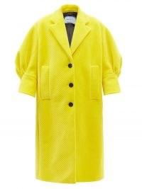 PRADA Yellow single-breasted puff-sleeve corduroy coat   womens texured coats   women's bright volume sleeve outerwear   designer fashion