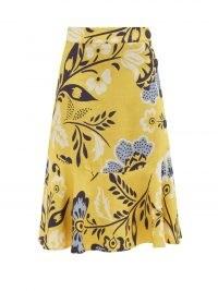 CALA DE LA CRUZ Vivian floral-print linen midi skirt / womens yellow linen flared hem summer skirts