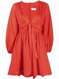 Zimmermann Shelly plunge-bow minidress in blood orange | womens plunge V front balloon sleeve dresses | women's plunging neckline fashion