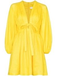 Zimmermann Shelly V-neck minidress in yellow | plunge front flared hem dresses | plunging neckline fashion