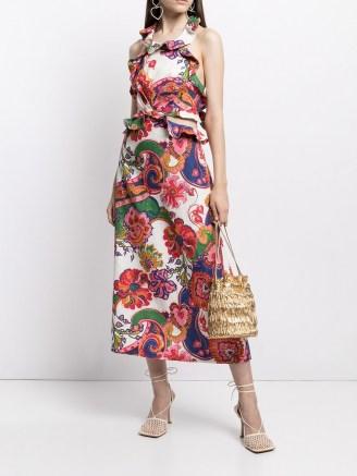 Zimmermann The Lovestruck ruffle detail midi dress ~ ruffled floral and paisley print dresses - flipped