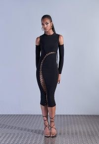 aazhia x missguided black lace up high neck maxi dress ~ womens edgy fashion ~ cold shoulder bodycon ~ women's going out dresses
