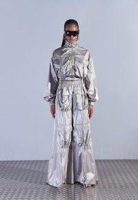aazhia x missguided khaki metallic funnel neck cargo jacket ~ crop hem jackets