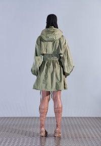 aazhia x missguided khaki zip overlay hooded mini dress ~ coat style dresses ~ womens on trend fashion