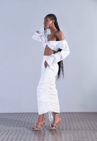 aazhia x missguided white ruched side maxi skirt ~ womens going out skirts ~ women's on trend evening fashion