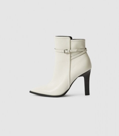 REISS ADA ANKLE LEATHER POINT-TOE ANKLE BOOTS WHITE ~ women's luxe strap and buckle detail boot - flipped