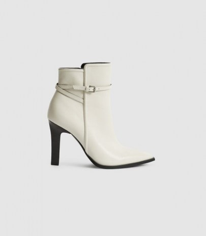 REISS ADA ANKLE LEATHER POINT-TOE ANKLE BOOTS WHITE ~ women's luxe strap and buckle detail boot