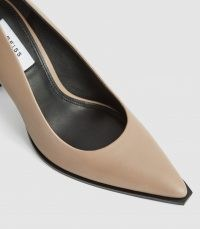 REISS ADA COURT LEATHER COURT SHOES TAUPE ~ light brown contemporary courts ~ squared off pointed toe ~ modern classics