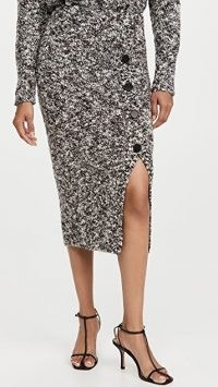 Adam Lippes Pencil Skirt with Placket In Wool Boucle | chic textured fabric skirts
