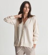 REISS ADDISON WOOL BLEND CARDIGAN OATMEAL ~ chic button front pleat detail cardigans ~ womens stylish knitwear