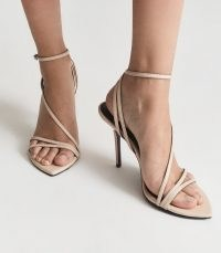 REISS ADELA LEATHER STRAPPY SANDALS BLUSH ~ womens luxe heels ~ light pink ankle strap stilettos