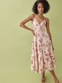 REFORMATION Adria Linen Dress in Nectarine / cami strap fit and flare dresses / fruit print summer fashion / check prints