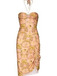 Adriana Degreas seashell pattern mini dress in pink and gold