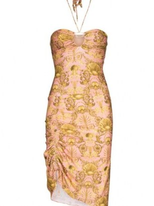 Adriana Degreas seashell pattern mini dress in pink and gold - flipped