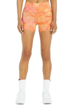 Kendall Jenner orange shorts worn on Instagram Story, 5 July 2021, Alo Yoga AIRBRUSH HIGH-WAIST SUMMER SUNSET DYE SHORT in Apricot Sunset | celebrity social media fashion | reality star style | models off duty - flipped