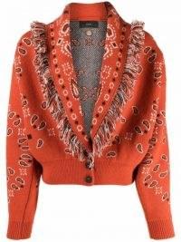 Alanui bandana-print frayed cardigan ~ womens fringed shawl collar cardigans