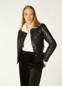 L.K. BENNETT ALBANY BLACK QUILTED LEATHER JACKET ~ womens luxe jackets