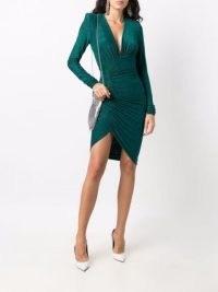 Alexandre Vauthier ruched-side detail dress in emerald green | plunge front evening dresses | deep V plunging neckline | party glamour