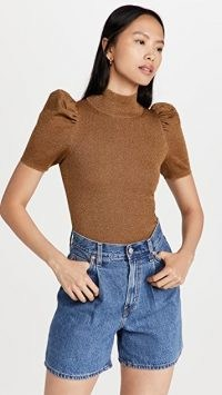 alice + olivia Issa Pullover Sweater | camel brown high neck puff sleeve sweaters | metallic knit jumpers | womens feminine knitwear