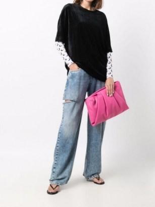 AMBUSH Wrap zipped clutch bag ~ pink leather pleat detail bags