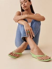 REFORMATION Amelia Terry Thong Wedge Sandal in Poison Apple / green textured terry knit fabric sandals / thonged wedged heels
