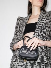 Amina Muaddi Ciao Bella crystal-embellished mini bag / small slogan bags / petite handbags