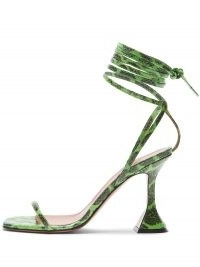 Amina Muaddi Vita 95mm wraparound green snakeskin-effect sandals