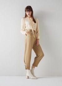 L.K. BENNETT AMY CAMEL TENCEL PLEAT FRONT TROUSERS ~ womens cropped tapered pants ~ crop hem