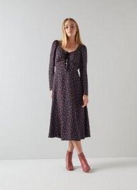 L.K. BENNETT ANNIS NAVY RASPBERRY PRINT MIDI DRESS / women's dark blue fruit print dresses / raspberries