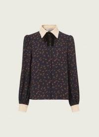 L.K. BENNETT ANNIS NAVY RASPBERRY PRINT VELVET BOW BLOUSE / dark blue vintage style point collar blouses / fruit prints