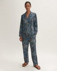JIGSAW ANTIQUE PAISLEY PYJAMA NAVY / womens blue printed pyjamas / women's shirt and trouser bottom PJs