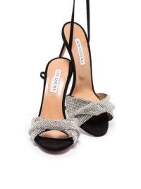 Aquazzura Crystal Twist 105mm sandals in black / silver tone~ glamorous party heels