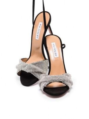 Aquazzura Crystal Twist 105mm sandals in black / silver tone~ glamorous party heels - flipped