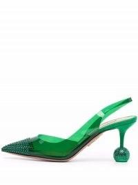 Aquazzura Nights green embellished slingback pumps ~ semi sheer pointed toe slingbacks ~ sculptural heels