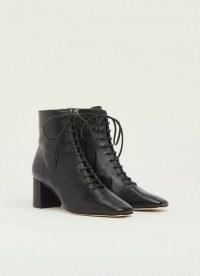 L.K. BENNETT ARABELLA BLACK LEATHER LACE-UP ANKLE BOOTS ~ womens block heel footwear