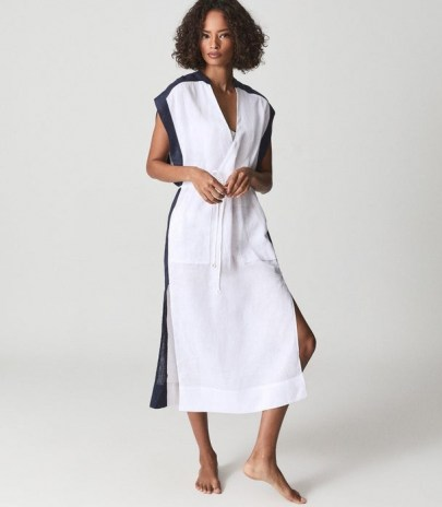 REISS ASHER COLOUR BLOCK KAFTAN IVORY / chic holiday kaftans / by the pool / cotton beach bar dresses / stylish poolside cover up - flipped
