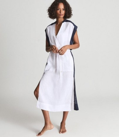 REISS ASHER COLOUR BLOCK KAFTAN IVORY / chic holiday kaftans / by the pool / cotton beach bar dresses / stylish poolside cover up