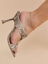 REFORMATION Aubree Cutout High Heel Sandal Tan Snake Emboss / square toe sandals