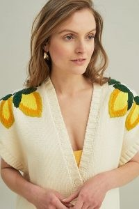 Stella Nova Maily Cardigan / womens wide cap sleeve button up cardigans / fruit embroiderd knitwear /