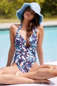Maeve Violet Halter One-Piece Swimsuit Navy / dark blue printed halter neck swimsuits / halterneck swimwear / womens beachwear