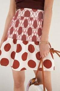 Maeve Smocked Mini Skirt Ivory / womens spot print flared hem skirts / large polka dot prints