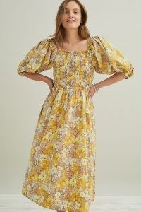 Stella Nova Penny Midi Dress   yellow floral puff sleeve cotton dresses