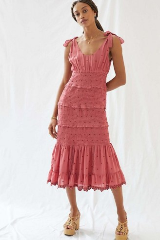 Forever That Girl Embroidered Midi Dress Pink