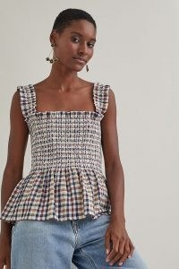 Lolly's Laundry Check-Print Cami | smocked bodice peplum hem camisoles | checked camisole tops